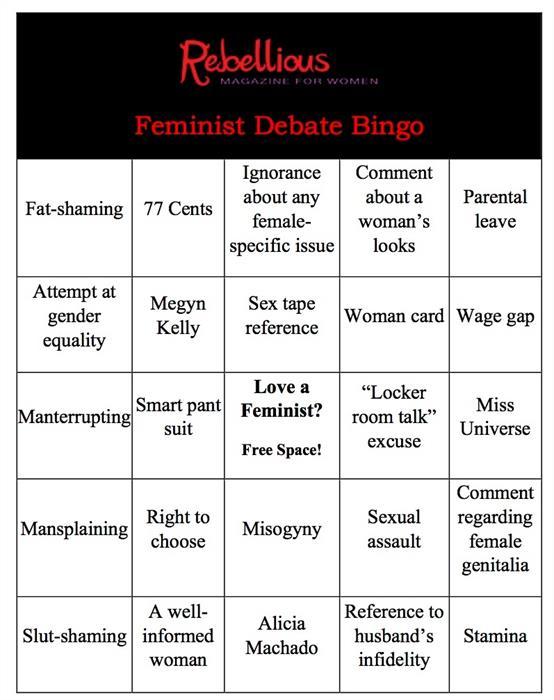 Feminist Debate Bingo