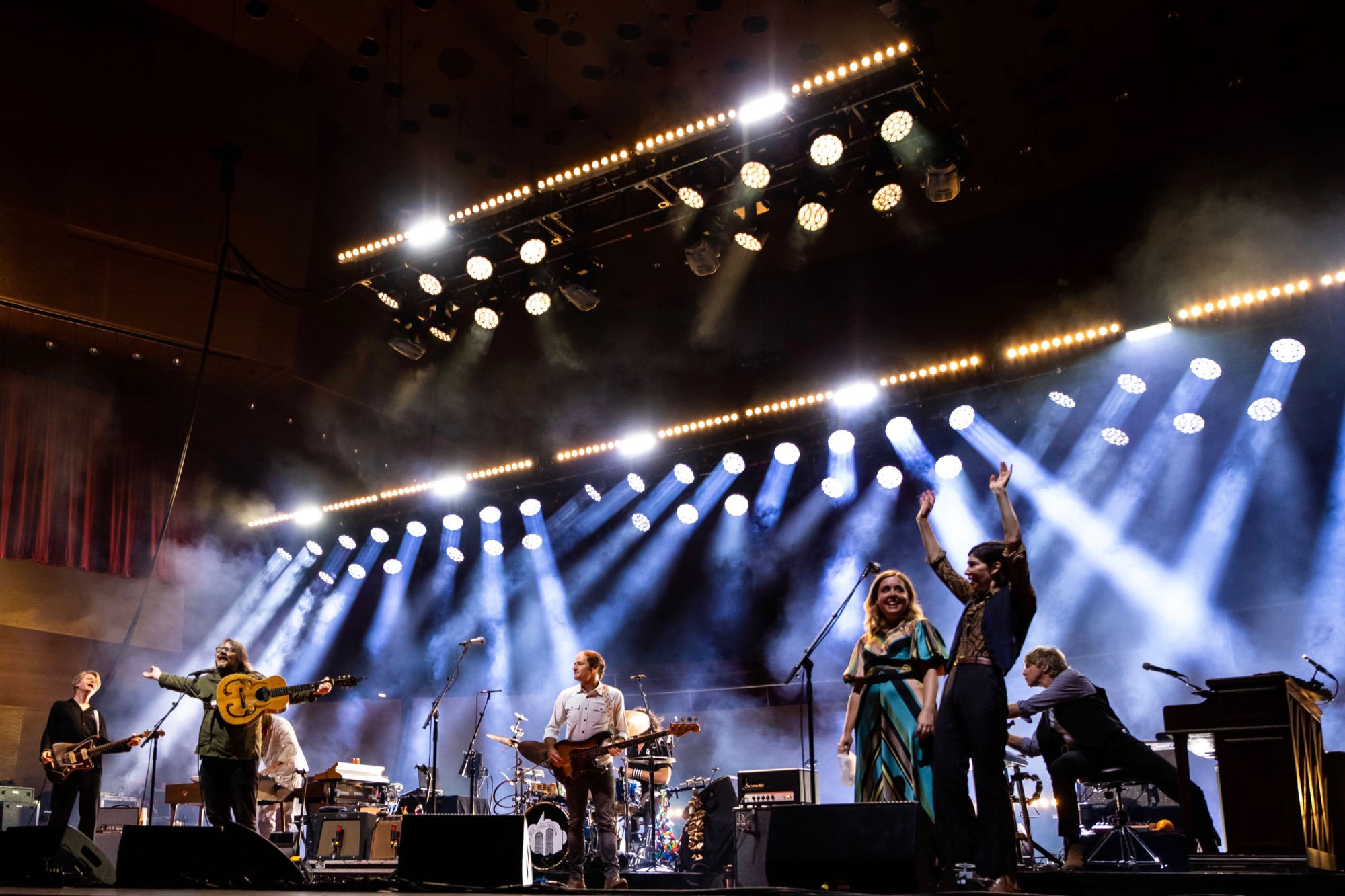 Sleater-Kinney joins Wilco on stage at Pritzker Pavilion in Chicago on Aug. 28, 2021.