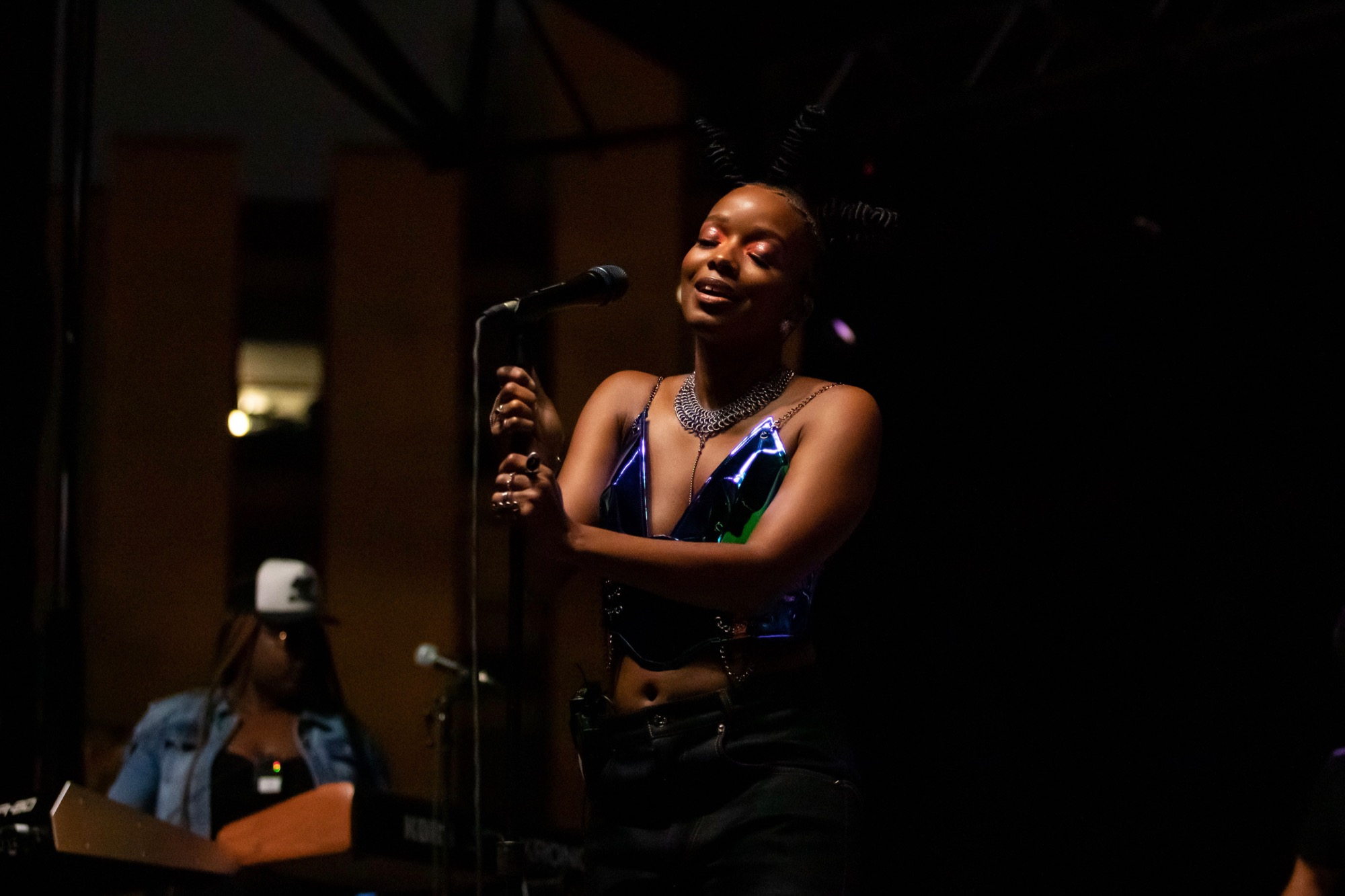 Jamila Woods performs at the Pitchfork Music Festival in Chicago on Sep. 11, 2021.