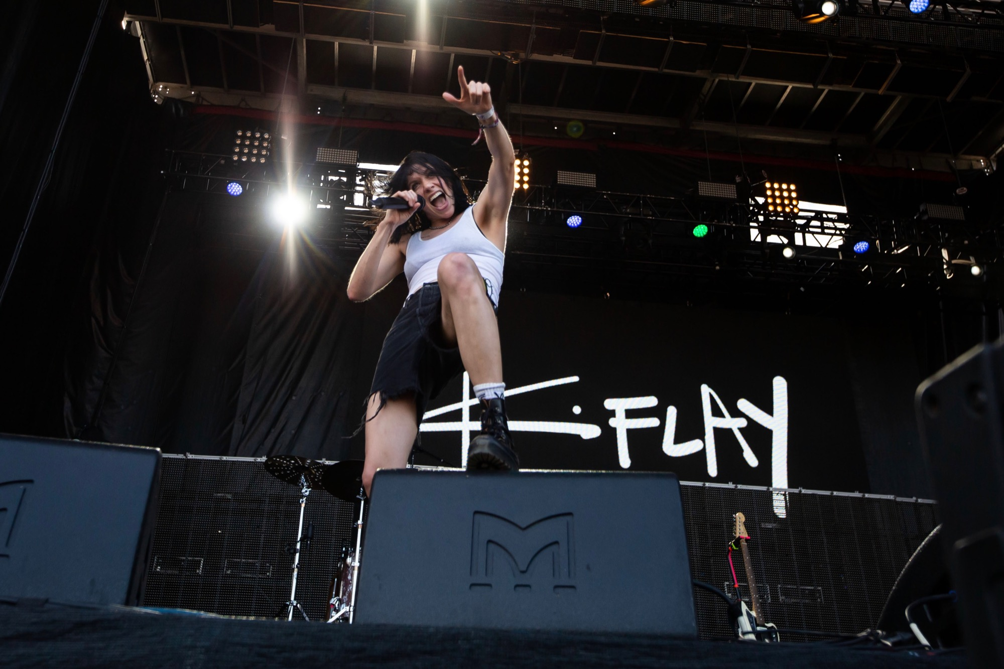 K.Flay performs at Riot Fest in Chicago on Sept. 19, 2021.